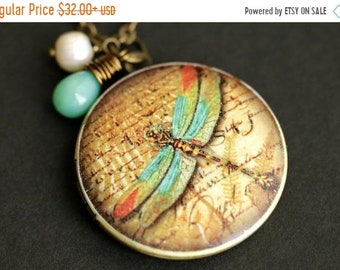 SUMMER SALE Aqua Dragonfly Locket Necklace. Dragonfly Necklace with Aqua Teardrop and Fresh Water Pearl Charm. Photo Locket. Bronze Necklace