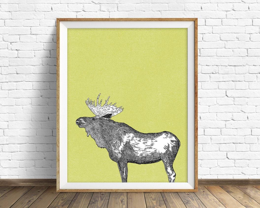 moose, moose print, moose art, wall art, large art, large wall art ...