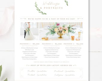 Photographer Pricing Guide Template, Wedding Package Pricing, Photography Flyer, INSTANT DOWNLOAD!