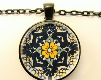 MEXICAN TALAVERA TILE Necklace -- Detail from hand-painted, blue and yellow Mexican Tile, Friendship token