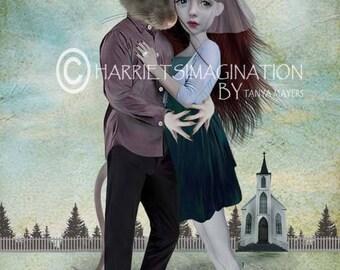 Pop surrealism art | Giclee print | Gift for rat lover | Lowbrow art | Quirky wall decor | Home decor | Mixed media | Rat art print | Elope