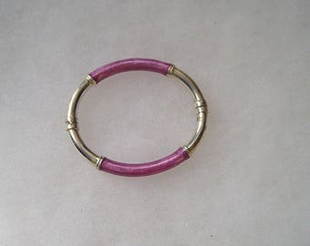 Lovely Sterling Silver 925 Purple Enamel Hinged Bangle Bracelet Milor Italy