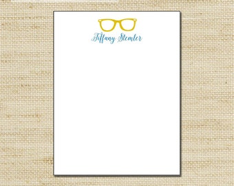 Note pad with retro glasses, Personalized Notepad, note pad, note sheets, custom notepad with modern design