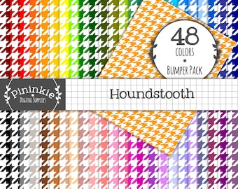 8.5 x 11 Digital Paper, Letter Size, Houndstooth Scrapbooking Paper, INSTANT DOWNLOAD,  Commercial Use (CU)