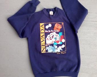 Vintage Las Vegas Glittered Sweatshirt Large // 80s 90s Crewneck Gambler Shirt // High Roller Pullover