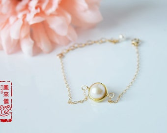 Flyin freshwater pearl bracelet, vermail circle, 14k gold filled bracelet, dainty bracelet, Simple Minimal, wedding bride bridesmaid