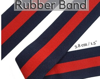 Blue Red Striped Gucci Style Rubber Elastic Band Trim, Luxury Brand Elastic Rubber Trim