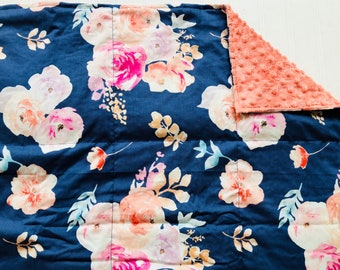 Weighted Blanket- Adult Size (40x60 inches) Fresca Navy Floral