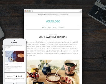 Responsive HTML email, Mailchimp Email Newsletter Template, Send your latest blog posts, Email Newsletter, Instant download