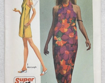 "Size sm  (8-10). bust 31.5""-32.5"" 1975 Vintage Simplicity  Sewing Pattern 9415 Super Jiffy Cover up"