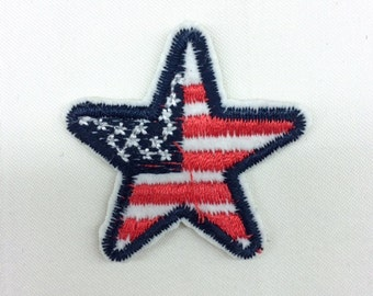 5 Pcs USA Country Flag Patches - Iron on Patch / Sewing on Patch Star Patch Stars Patch Embellishments Embroidery Applique
