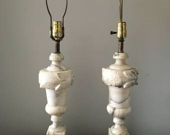 alabaster hollywood regency  floral marble lamps. mid century glam alabaster marble carved antique lamps. bohemian boho decor neoclassical