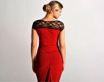 CRISTINA red top with lace, XS-M