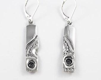 Sterling silver earrings, long silver earrings