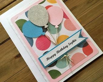 Handmade Balloon Birthday Card, Personalized Card, Balloon Card, Birthday Card, Card for Her, Pretty Birthday Card, Girl Birthday Card