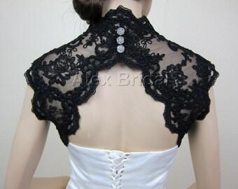 Black sleeveless bridal shrug lace bolero jacket wedding bolero - keyhole back