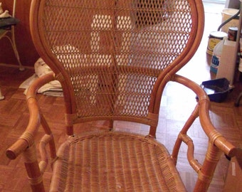 Rattan Mid Century Fan Back Chair