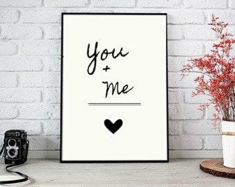 You+Me, digital print, instant download, wall art