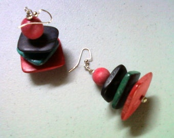 Chunky Red, Black and Teal Blue Wooden Earrings (1413)