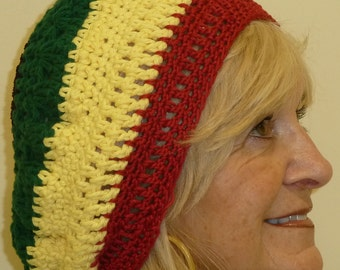 Women's chemo hat that's a Rasta hat, original cotton hat in red, black, green and yellow, unique slouchy hat,  free shipping USA