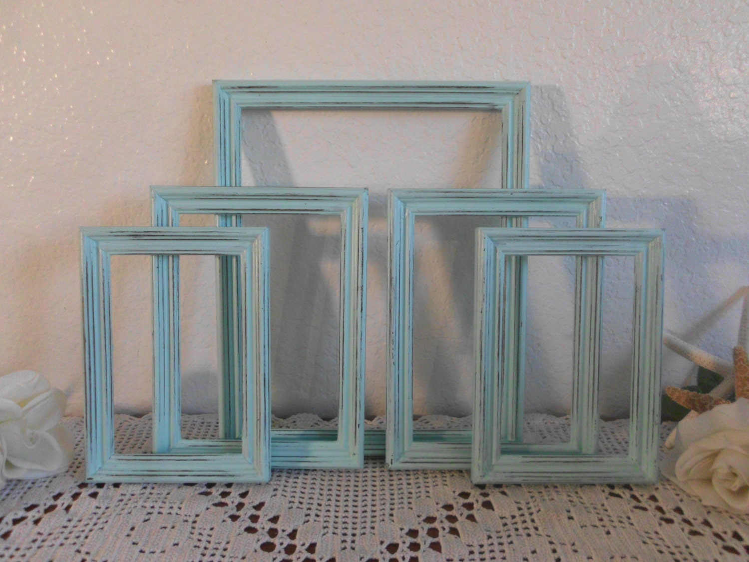 Mint Blue Green Picture Frame Set Rustic Distressed Photo Wall