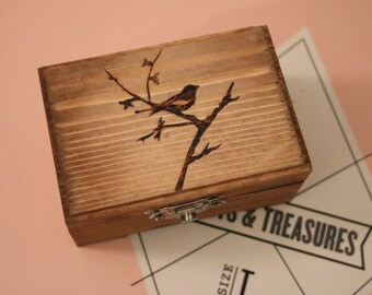 Small Wood Burned Box: Bird and Tree