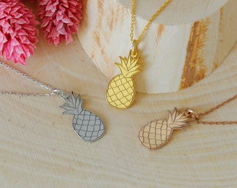 Pineapple Necklace, Tropical Necklace, Silver Necklace, Gold, Rose, Gift