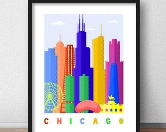 Chicago Print, Chicago Skyline Retro Print, Chicago Mid Century Modern, Chicago Wall Art, Chicago Pop Art Poster Minimalist (G0162)