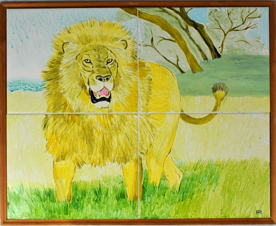 Handpainted Tile Mural wall art decorative tiles The Lion