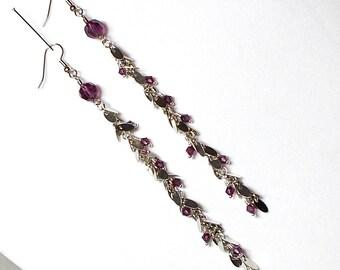 Swarovski Purple Crystal With Silver Tag Chain Long Drop Earring, Purple Crystal Earring, Long Chain Drop Earring, Purple Earring