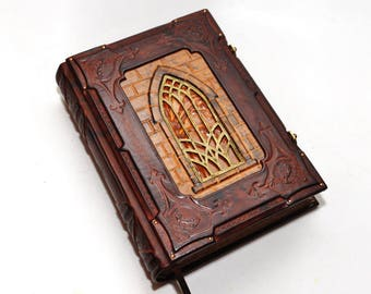 """FREE SHIPPING, Leather journal, """"A tale from Transylvania"""",  Book of shadows, blank book, Gothic journal, ooak leather journal, necronomicon"""