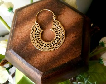 Hoop Earrings, unique design, Tribal Brass Earrings, Brass Earrings, Boho Earrings. Gypsy Earrings. Ethnic Earrings.