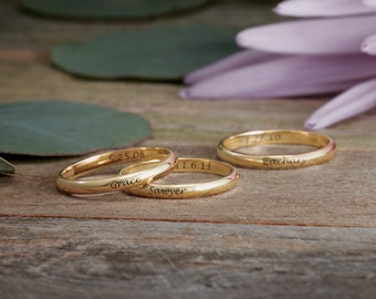 Solid Gold Skinny Name Ring - Mother's Day Gift Idea. Personalized Jewelry. 14k, 18k Yellow, Rose, White Gold & Platinum