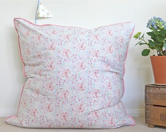 Vintage Cath Kidston paisley fabric floor cushion with pink velvet piping  | Floor pillow with feather insert | Pink & blue nursery pillow
