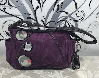Purple purse, Leather purse, Stylish purse, Women's handbags, Purple suede pocketbook, Designer purse, Tignanello purse