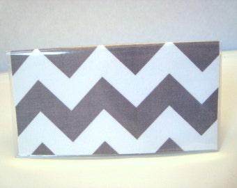 Checkbook Cover , Holder - Chevron Zig-Zag in Gray