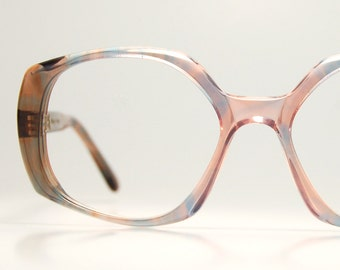 ff30a32a5b 1970s French Eyeglasses Squared Oversized Womens Sunglasses Smoke Rose  Dusty Blue Indie Hispter Chic Frame France