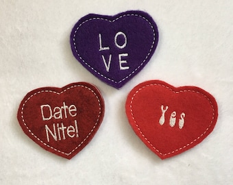 Valentine Set of 3 Romatic Hide-A-Heart Game - Embroidered on RED, Burg, Purple Felt