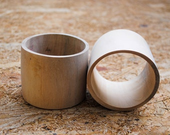 Set of 2 - Unfinished Extra Wide FLAT Wooden Bangles 2 1/2 inches - Wood, Eco-friendly, DIY, Jewelry Supply