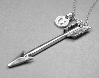 Arrow Charm Necklace, 3D antiqued silver plated pewter, initial necklace, initial hand stamped, personalized, monogram letter, initial charm