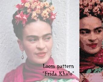"Loom pattern  for bracelet cuff  ""Frida Khalo"""