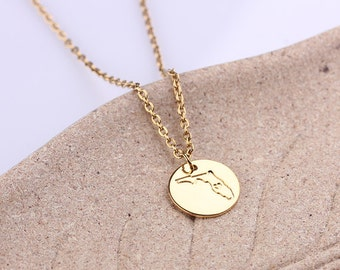 Personalized Disc Necklace Minimal Necklace, Florida Necklace, State Necklace, Map Jewelry, State Charm, I love Florida Necklace