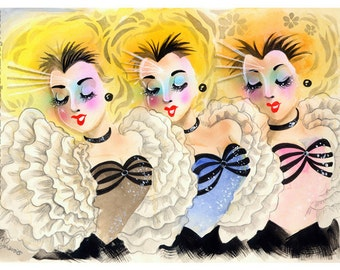 Power Chord Singers Watercolor airbrush art deco Giclee Print 8.5x11