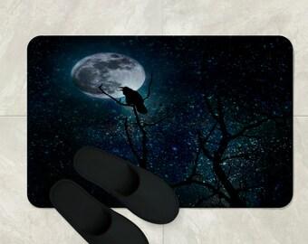 Gothic Bath Mat, Raven, Tree, Moon Night Sky  Crow