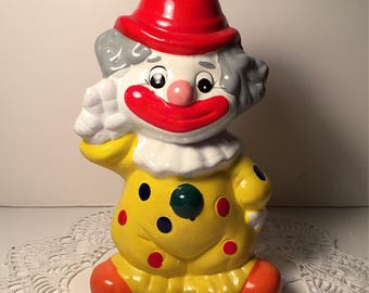 Vintage Yellow Ceramic Clown Coin Bank