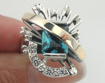 New Design 9K Yellow Gold and 925 Sterling Silver Blue Topaz & CZ ring, Ring Size 7, Topaz Gold Ring, Blue Stone Ring, Gift (sr1868bt)