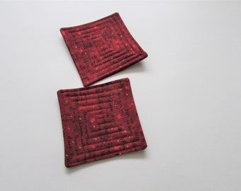 Primitive Fabric Coaster Set of Four, Farmhouse Coaster Set for Decor, Country Home Decor