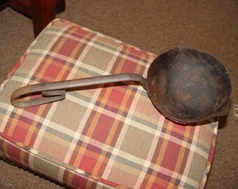 Unique 19th c hand forged cast iron deep blacksmith smelting melting lead ladle ~ Rustic Kitchen or Cabin Decor