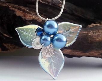 Blue Fairy Leaf Necklace Woodland Triquetra