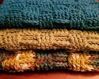 Basket Weave Discloths/Washcloths - Set of 3